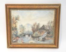 WATERCOLOR OF COTTAGE ON RIVER SIGNED