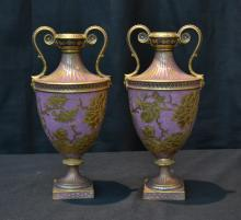 (Pr) ROYAL CROWN DERBY TWIN HANDLE VASES WITH