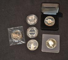 (6) ASSORTED SILVER COINS TO INCLUDE DESERT STORM,