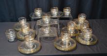 (72)pc GOLD RIM GLASS DESSERT BOWLS & UNDERPLATES