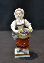 MINIATURE MEISSEN GIRL WITH BASKET - 3 3/4