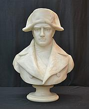 CARVED MARBLE BUST OF NAPOLEON SIGNED