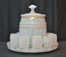 BARREL FORM OPALINE PUNCH SET WITH PUNCH BOWL