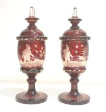 (Pr) RUBY BOHEMIAN COVERED JARS WITH ETCHED