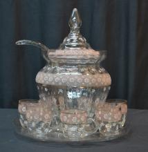 ENAMELED GLASS PUNCH BOWL WITH (7) CUPS , TRAY &