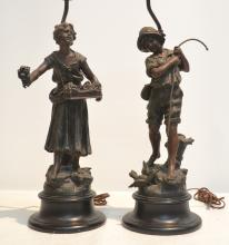 (Pr) FIGURAL WHITE METAL LAMPS WITH FABRICATION