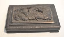 COVERED CHINESE INK STONE WITH CARVED DRAGON