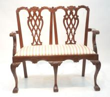 MAHOGANY CHIPPENDALE STYLE SETTEE