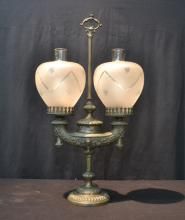 SPELTER ARGAND LAMP WITH ETCHED SHADES