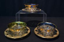 (3) BOHEMIAN BOULLION CUPS & UNDERPLATES WITH
