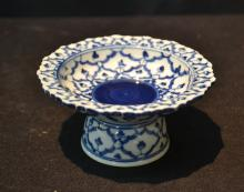 MINIATURE CHINESE BLUE & WHITE TAZZA - 4 1/2