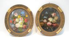 (Pr) REVERSE PAINTED FLORAL STILL LIFE IN PERIOD