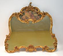 CARVED FRENCH STYLE TRUMEAU MIRROR WITH