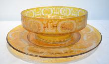 AMBER BOHEMIAN BOWL WITH UNDERPLATE ADORNED