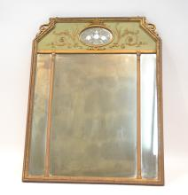 GILT TRUMEAU MIRROR WITH ETCHED FLOWERS