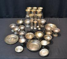 STERLING SILVER LOT CONSISTING OF CUPS , COMPOTES