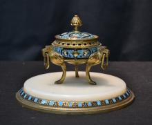 ONYX & CHAMPLEVE BRONZE INKWELL MOUNTED OF