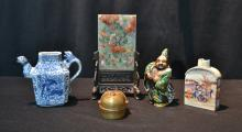 ASSORTED ORIENTAL LOT - INLCUDING TABLE SCREEN ,
