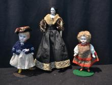 (2) GERMAN ALL BISQUE DOLLS & CHINA HEAD DOLL