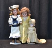 (3) BISQUE HEAD DOLLS INCLUDING 13