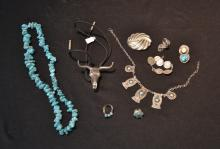 INDIAN STERLING SILVER & TURQUOISE JEWELRY