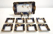 COBALT & GOLD LIMOGES ICE CREAM SET CONSISTING OF