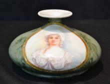 UNUSUAL FORM HAND PAINTED LIMOGES PORTRAIT VASE