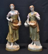 (2) ROYAL DUX FIGURES OF WOMEN HOLDING