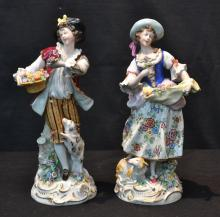 (Pr) DRESDEN STYLE PORCELAIN FIGURES OF MAN &