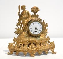 FIGURAL GILT METAL CLOCK - 11 1/2