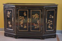 BLACK LACQUER ORIENTAL CREDENZA WITH GOLD