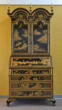 ORIENTAL BLACK LACQUER SECRETARY WITH RAISED