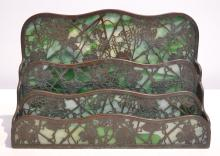 TIFFANY STUDIOS SLAG GLASS & BRONZE LETTER HOLDER