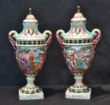(Pr) 19thC FRENCH CAPODIMONTE STYLE COVERED URNS