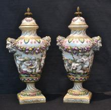 (Pr) 19thC FRENCH COVERED URNS WITH PUTTIS