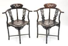 (Pr) ORIENTAL BLACK LACQUER ARM CHAIRS WITH