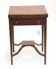 MAHOGANY PENCIL INLAID HANKERCHEIF TABLE