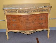 SERPENTINE FRENCH STYLE MARBLE TOP INLAID