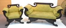 19thC CARVED EMPIRE SETTEE & CHAIR WITH CARVED