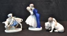 (2) COPENHAGEN FIGURINES OF BOY & GIRL KISSING