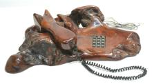 CARVED CYPRESS ROOT TREE FORM TELEPHONE