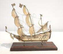 SILVERED SHIP ON STAND