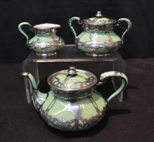 GREEN LENOX STERLING OVERLAY TEA SERVICE