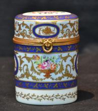 HAND PAINTED FRENCH HINGED BOX WITH BRONZE