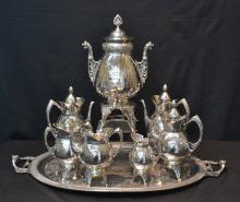 LARGE (9)pc MERIDAN SILVER PLATE TEA SET WITH