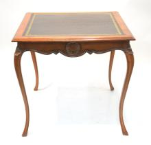 SQUARE WALNUT LEATHER TOP TABLE
