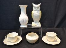 (7)pc;s ASSORTED BELEEK INCLUDING OWL , VASE,