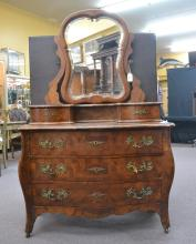 BURLED & BANDED DRESSER WITH BEVELED MIRROR