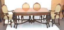 CARVED WALNUT DINING ROOM TABLE WITH (6) CHAIRS