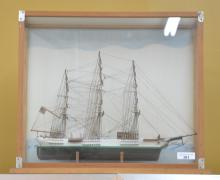 WOOD MODEL SHIP IN PRESENTATION CASE